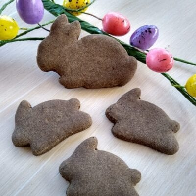 Carob & Apple Easter Bunny Dog Treats - Semi-Soft, Grain-free, Vegan